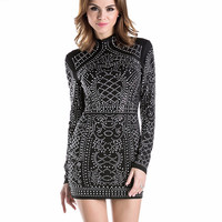high-necked long-sleeved tight dress