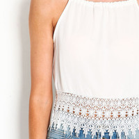 CROCHET TRIM CROP TOP