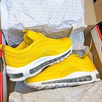 Air Max 97  Nike  New Fashion Air Cushion Women Men Gym Shoes Yellow