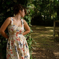 custom order floral linen garden dress by threadbeat on Etsy