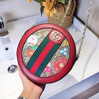 GUCCI hot new women's circular patchwork color printed cross - over bag