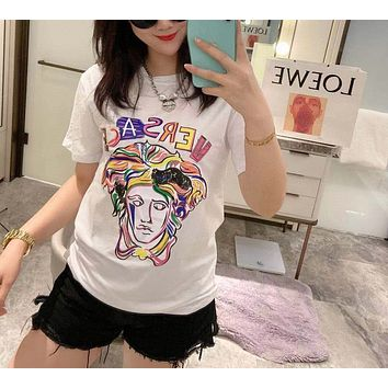 """ Versace"" Woman Unique Contrast Color Casual Fashion Letter Loose Large Size Short Sleeve T-Shirt Tops"