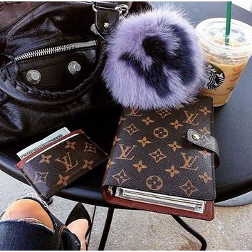 Louis Vuitton LV Hot Sale Classic Letter Printed Leather Writing Notebook Book bag Card sets bag