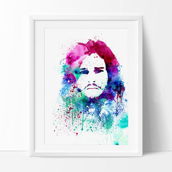 Game of Thrones Jon Snow Watercolor Print Wall Hanging Giclee Wall Print Movie Art Poster Watercolor Art Home Decor winter is coming (225)
