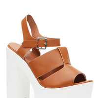 Whiskey Faux Leather Chunky Lug Sole Heels