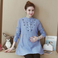 Embroidery Cotton Maternity Shirt Spring Autumn Blouse Tops Clothes for Pregnant Women Pregnancy Office Wear Clothes C079