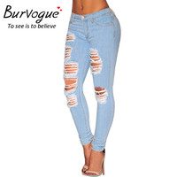 Burvogue Hole Casual Ripped Jeans for Women Mid Waist Full Length Skinny Jeans 2016 Fashion Summer Style Ripped Jeans Pants