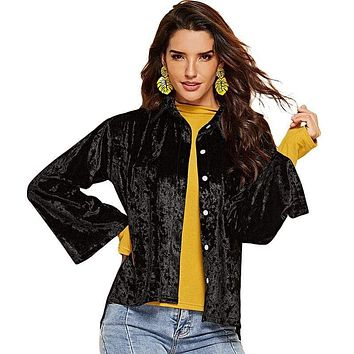 Women Vintage Style Solid Color Velvet Flare Sleeves Casual Jacket