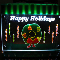 Holiday Wreath  Happy Holidays  Light LED lit  decoration ornamental light art panel  with stand