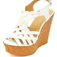 STRAPPY CAGED HUARACHE PLATFORM WEDGES