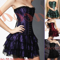 Luxury Low Up Trim Lingerie Amazing Distinct Corset+Skirt Purple/Green/Red/Black = 1932370884