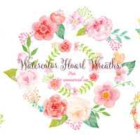 Pink Floral Wreaths for instant download, watercolor clipart, wreath printable, wall art, floral arrangement