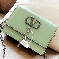 Hipgirls Valentino New Fashion Leather Shopping Leisure Chain Shoulder Bag Crossbody Bag Green