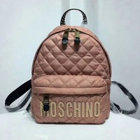 MOSCHINO Fashion Women Casual Rivet Bookbag Daypack Satchel School Bag Oxford Cloth Backpack Pink I13330-1