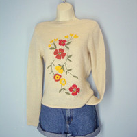 Vintage 80s Embroidered Sweater Pullover Boho Size Medium