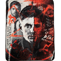 Supernatural Half Face Fleece Throw Blanket