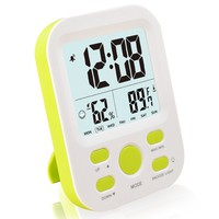 FAMICOZY Digital Alarm Clock for Kids Teens,Desk Nightstand Clock with Crescendo Alarm,Repeating Snooze,Week 12/24h,Low Nightlight,Temperature Humidity,Stand or Wall Mount,Green