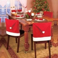 1pcs Santa Red Hat Chair Covers Christmas Decorations Dinner Chair Xmas Cap Cover [8833417164]