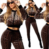 Givenchy New Fashion Autumn And Winter Pattern Print Welvet Women Long Sleeve Top And Pants Two Piece Suit Brown
