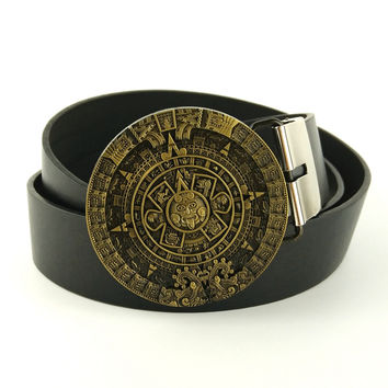 Men fashion belts aztec calendar belts for men cowboys belt buckles faux leather belts cintos masculinos