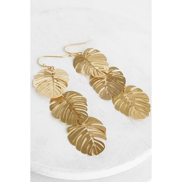 Banana Leaf Drop earrings in gold