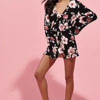 DCCKJH6 Kendall and Kylie Bell Sleeve Surplice Romper