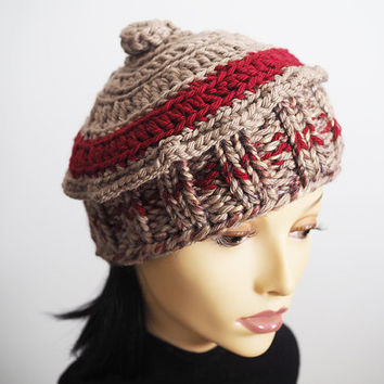 Woman knit hat ,Taupe knit cloche , Fashion knit hat , Ready to ship , Chunky knit hat , Teen girl hat, Crochet beanie, Woman winter hat