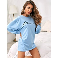 Letter Graphic Drop Shoulder Nightdress
