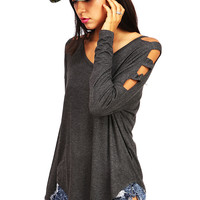 Notch It Off Top   Trendy Tops at Pink Ice