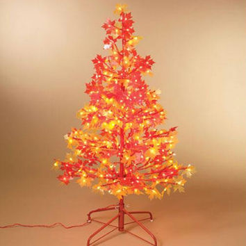 Harvest Thanksgiving Tree - Clear Lights - Red And Yellow Maple Leaves