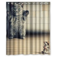 Funy Cat and Mouse Customize Designer Fabric Curtain Bathroom Products Waterproof Shower Curtains 48x72, 60x72, 66x72 inches