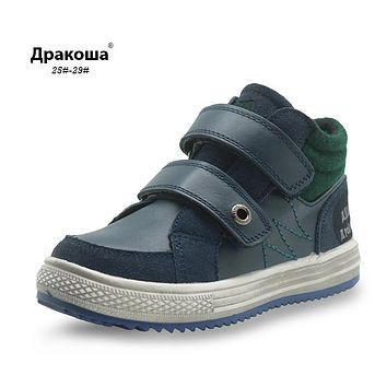 Boys Autumn Boots Genuine Leather Ankle Martin Boots for Boys Children's Shoes Patched Flat Kids Shoes