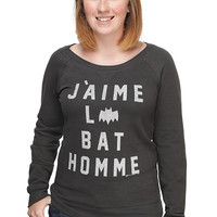 Exclusive I Love Batman Ladies' Scoop Neck Sweatshirt - Black,