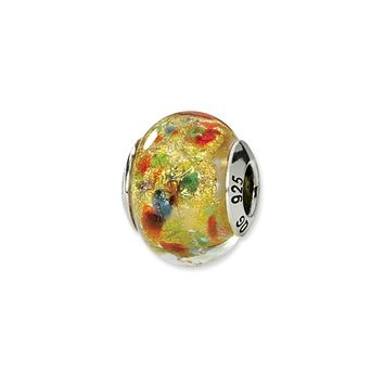 Sterling Silver, Yellow Multi Murano Glass Bead Charm