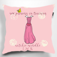 "Personalized Princess in Training Pillow. 18"" x 18"". Nursery Decor. Baby Gift."