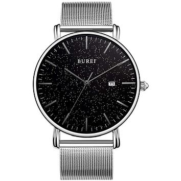 BUREI Men's Fashion Minimalist Wrist Watch Analog Date with Stainless Steel Mesh Band Silver black-gray