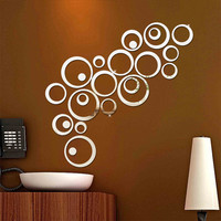 1 Set Wall Sticker Circles Mirror Style Removable Decal Vinyl Art Mural Wall Sticker Home Decoration Acrylic Stickers