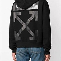 OFF-WHITE x Louvre oil painting arrow print cotton terry hoodie