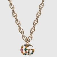 GUCCI Classic Stylish Women Retro Colorful Diamond Brooch Earrings Bracelet Necklace Accessories Jewelry