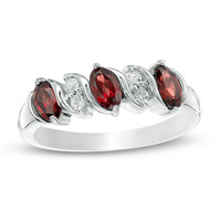 Oval Garnet and White Topaz Five Stone Ring in Sterling Silver|Zales