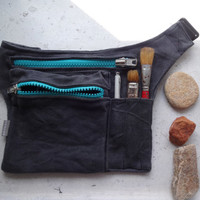 Hip Bag Grey Turquoise Waxed Canvas Hip Utility Bag, Grey Travel Belt, Waxed Canvas Pouch, Festival Belt Bag, Fanny Pack, Travel Pouch