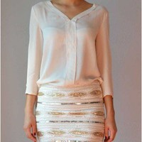 Trendy Clothing, Fashion Shoes, Women Accessories | Stud Accent Blouse in Cream  | LoveShoppingMiami.com