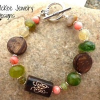 Butterfly, stone, wood and silver bracelet.