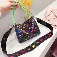 LV Shoulder Crossbody Bag Colorful Monogram Chain Bag Black colorful