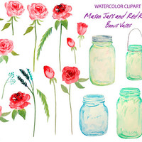 Wedding Clipart - hand painted watercolor mason jars and red roses printable instant download scrapbook wedding invitations greeting cards