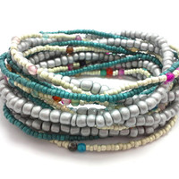 3 Stretch seed bead wrap bracelets, stacking, beaded, boho anklet, bohemian, stretchy stackable multi strand, grey silver, dark teal, agate