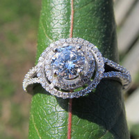 Diamond Engagement Ring -14K white gold - 1.0 carat total Round - Double Halo - Split shank - Pave - Antique Style - BP001