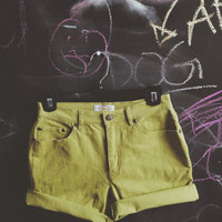 Cut off lime green shorts