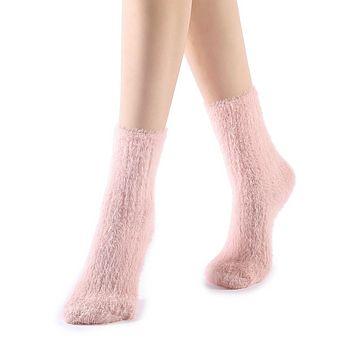 Polly Fuzzy Crew Sock | Pink