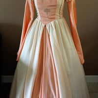 """Bust 40"""" Apricot Tudor Dress Ever After Renaissance Medieval Gown Game of Thrones Theme Wedding"""